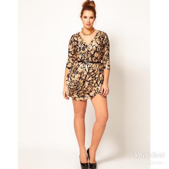 288b26c8b04 ASOS Curve Dresses   Skirts -  Asos Curve  Black   Gold foil wrap dress
